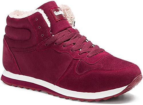 Gaatpot Herren Damen Winterschuhe Schneestiefel Winter Hohe Sneakers Warm gefütterte Leder Schnür Stiefel Boots Schuhe Weinrot 39.5EU=41CN