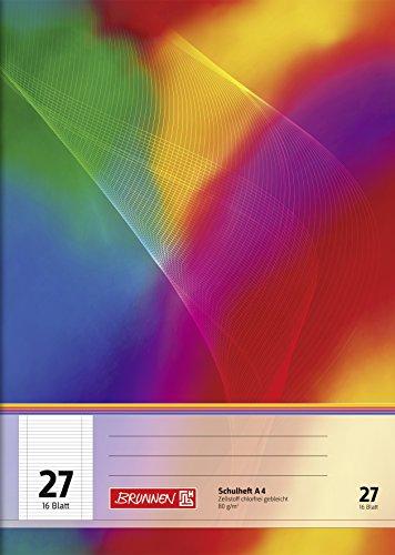 Brunnen 104492702 Schulheft A4 (16 Blatt, liniert, mit Rand, Lineatur 27)