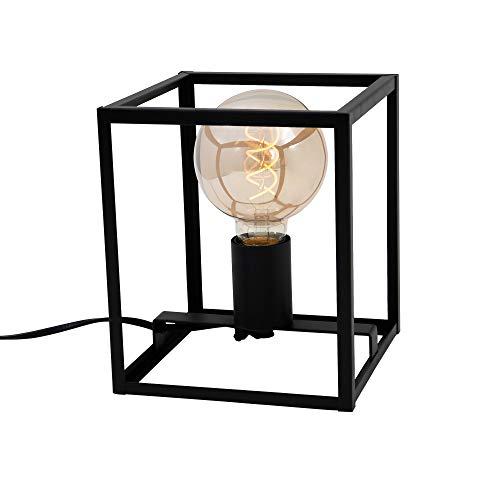 Briloner Leuchten Tischleuchte, Tischlampe 1-flammig, Nachttischleuchte retro, vintage, Black Steel, 1x E27, max. 40 Watt, inkl. Kabelschalter, Schwarz, 170x170x200mm (LxBxH) 7020-015