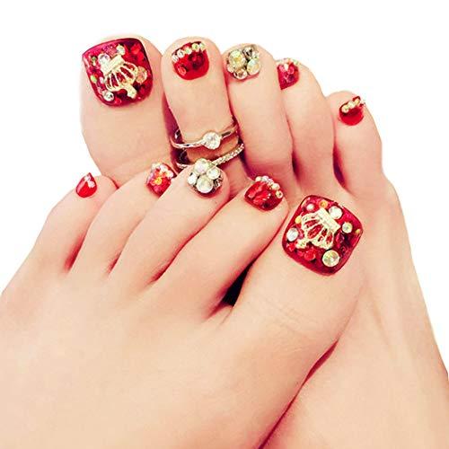 Fairvir - Corona de uñas postizas para dedos de los pies (24 unidades, acrílico), color rojo