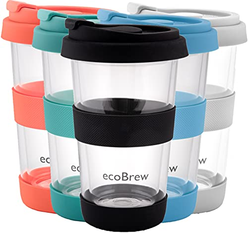 Reusable Glass Coffee Cup | Double Walled | 12oz / 345ml Eco-Friendly Travel Mug with Secure Silicone Lid | Black