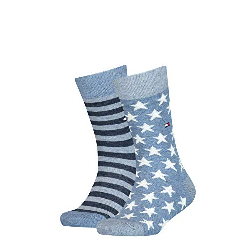 Tommy Hilfiger unisex-child Stars and Stripes Kid's (2 pack) Socks, jeans, 27/30 (2er Pack)