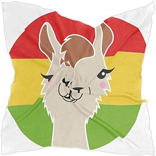 N/A Vrouwen Vierkante Sjaal Grappige Llama Met Rood Geel Groene Vlag Zijde Feeling Haar Sjaal Wikkel Hoofddoek