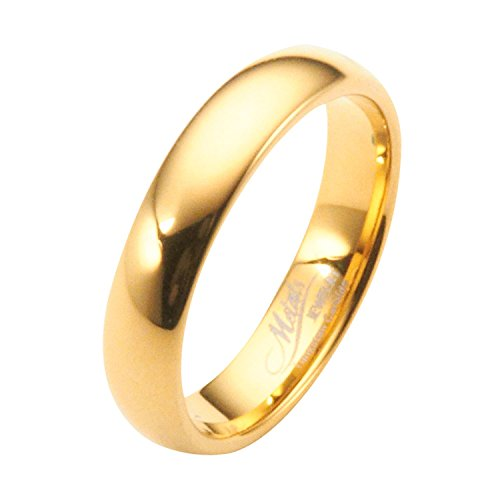 MJ Metals Jewelry 4mm Gold Plated Polished Tungsten Carbide Wedding Ring Classic Half Dome Band Size 9