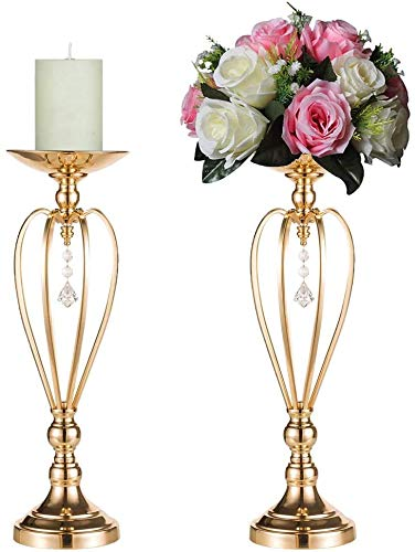 2 Stück/Set Herzförmige Hochzeit Party Blumenregal Ornament, Metall Stumpenkerzenständer Hochzeit Tafelaufsatz für Empfangstische elegant (59 cm × 2) 52 cm x 2.