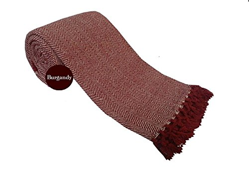 viceroy bedding HERRINGBONE 100% Cotton BURGUNDY WINE Sofa/Bed Throw, 102' x 102' (Perfect for 3/4 seater sofa/settee or as throw for a King/Super king size bed) - With Tasselled Edging