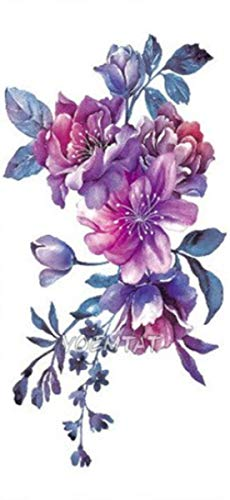 EROSPA® Tattoo-Bogen temporär/Sticker - Flowers Blumen Blüten - Wasserfest - 17,5 x 9,5 cm