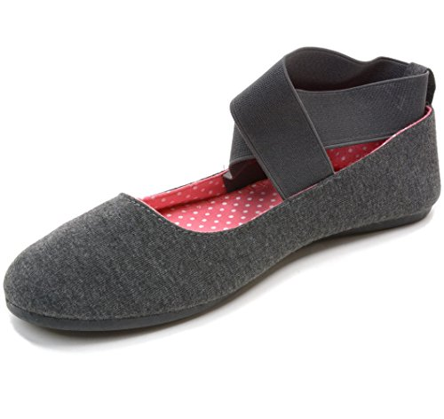 Alpine Swiss Peony Womens Ballet Flats Elastic Ankle Strap Shoes Gray 10 M US