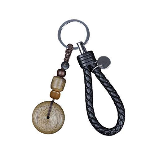 Llavero Anillo dominante de la cadena de madera de agar 50 g / cuerda de cuero real, clave sostenedor de la cadena de deslizamiento del nudo de fragancia Llavero de accesorios de 3,5 pulgadas llavero