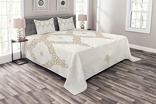 ABAKUHAUS marokkanisch Tagesdecke Set, Eastern Element Creme, Set mit Kissenbezügen Waschbar, für Doppelbetten 220 x 220 cm, Umber Kamel weiß