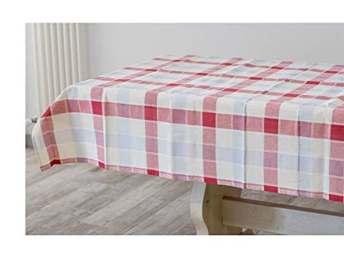 Mantel de algodón 100 % para mesa rectangular de 4/6 plazas, tamaño 140 x 180 cm, diseño a cuadros, blanco, azul y rojo