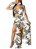 EOSIEDUR Women's Bohemian Floral Printed V Neck Crop Cami Top Split Beach Party Maxi Dress, Floral White, Medium
