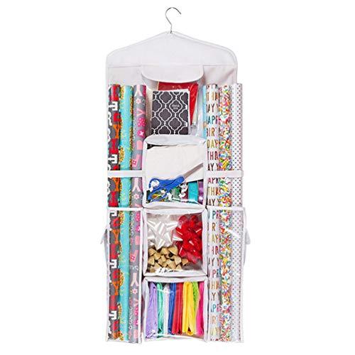 TOPBATHY opknoping Gift Wrap Organizer dubbelzijdig inpakpapier Rolls Opbergtas Houder Ruimtebesparende Closet Organisatie voor Kerstmis Gift Bag (wit)