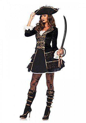 High Seas Pirate Captain Damen-Kostüm von Leg Avenue Piratin Kleid Hut sexy, Größe:M