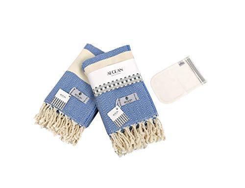 Juego de 2 toallas de mano turcas de lujo Aegean   100% algodón orgánico 40 x 101 cm   Exfoliante corporal premium incluido   para...