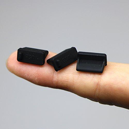 Kebinfen® 20 Piezas Negro Silicona Tapa del Puerto USB tapón Antipolvo Anti para USB Tipo-A Hembra (20 Piezas, Negro)