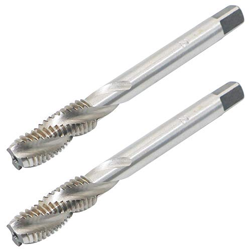 2pcs Spiral Point Plug Threading Tap M8 x 1.25 Thread, Ground Threads H2 3 Flutes, High Speed Steel HSS 6542, Round Shank with Square End for Metal Wood Plastic Tapping with Good Cutting