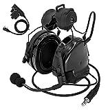 TAC-Sky Comta III - Casco táctico con riel lateral para airsoft, orejeras con PTT y micrófono para caza (negro)