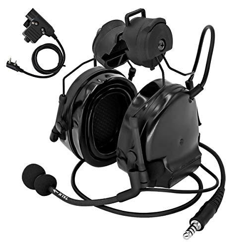TAC-Sky COMTAC III - Auriculares tácticos para airsoft con riel lateral con PTT y micrófono para la caza, color negro