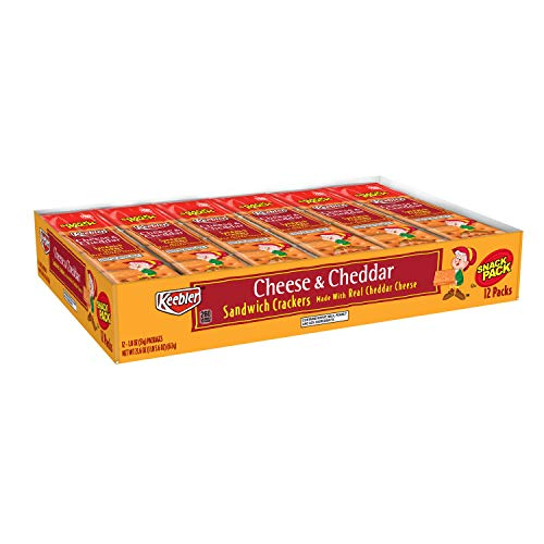 Keebler Cheese and Cheddar Sandwich Crackers, Single Serve, 1.8 oz Packages(12 Count)