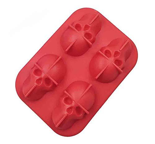 Bandeja 3D Cráneo Del Cubo De Hielo Con Tapa, De Silicona Cubo De Hielo Moldes Cafetera, Congelador Bandeja De Whisky, Whisky, Cocktail Glasses (2 Paquetes),Rojo,4 packs