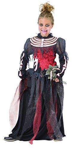 Costume mariée squelette. moyenne 5-7 ans. Robe et bandeau.