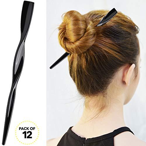 RC ROCHE ORNAMENT 12 Pcs Womens Fashion Hair Sticks Flat Twist Plastic Stylish Chopstick Bun Maker Updo Hairpins Premium Quality Beauty Accessory Girls Ladies, Medium Black