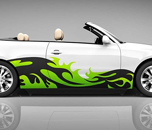 2x Seitendekor 3D Autoaufkleber Welle grün Digitaldruck Seite Auto Tuning bunt Aufkleber Seitenstreifen Airbrush Racing Autofolie Car Wrapping Tribal Seitentribal CW118, Größe Seiten LxB:ca. 220x50cm