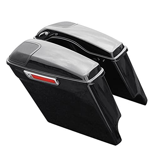 MEQNOIG Borse Laterali Moto Borsa Laterale Allungata estesa con griglia Altoparlante Fit for Harley Touring FLHT FLHX Adatta per Electra Road 2014-2020