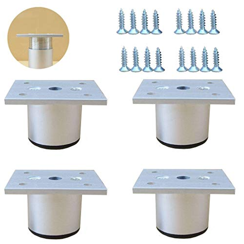 Juego de 4 patas ajustables de aluminio para muebles, placa de montaje y tornillos, para sofá o armario otomano o soporte de TV-4cm-Blanco