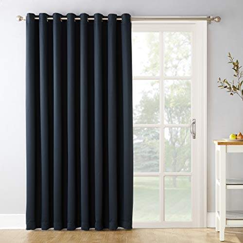 "Sun Zero Easton Extra-Wide Blackout Sliding Patio Door Curtain Panel with Pull Wand, 100"" x 84"", Navy Blue"