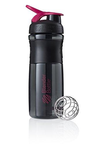 Blender Bottle Sportmixer Shaker per frullati di proteine | Bottiglia per acqua | Borraccia Nero - Rosa (590ml)
