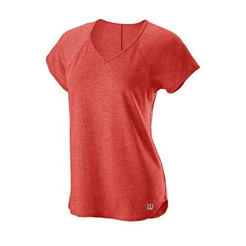Wilson Damen T-Shirt, TRAINING V-NECK T-shirt, Polyester/Baumwolle, Rot (Hot Coral Heather), Größe L, WRA775908LG