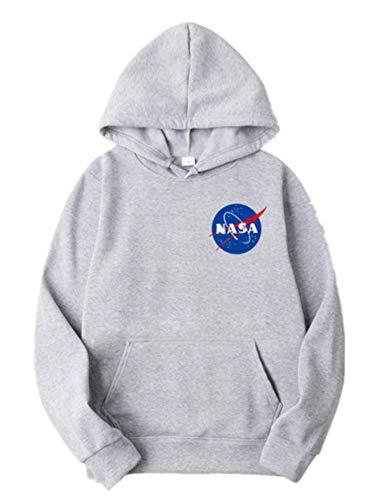 ZBSPORT Hombre Unisex Sudaderas con Capucha NASA Impreso Arte Suéter Cuello Redondo de Mangas Largas (Negro/Azul/Gris/Blanco/Rosa/Rojo)