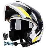 Casco de Moto Modular con Doble Anti Niebla Visera Bluetooth Integrado Casco de Motocicleta ECE Homologado a Prueba de Viento Guantes Gratis para Hombres Mujeres 59-64CM