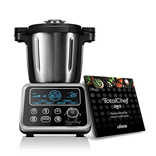 Ufesa Totalchef RK5 - Robot de Cocina con múltiples programas para cocinar, 1700W de potencia, pantalla LCD, jarra con 3,5L de capacidad, incluye recetario y báscula integrada