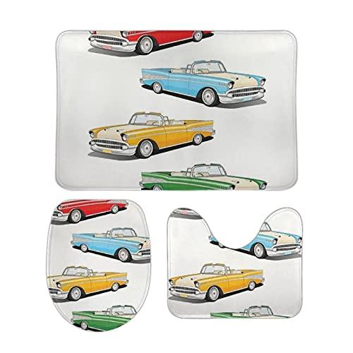 Juego de alfombras de baño de 3 piezas de vehículos antiguos de moda en colores vivos American Muscle Cars convertibles estilo de dibujos animados para inodoro con tapa antideslizante