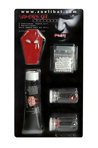 Zoelibat Kit de maquillage pour Halloween avec lentilles de contact blanches, dents de vampire, sang artificiel et colle