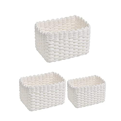shandianniao 3pc Cesta de Lectura de Cuerda de Papel de Reciclaje 3 tamaños Cestas de Almacenamiento Estantes Trenzados Cestas Organizador para armarios Baño Cocina Dormitorio (Color : White)