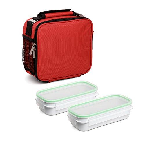 Tatay Urban Food Prime - Sac Isotherme Repas, Capacité 4,7 L, Avec 2 Boîtes Hermetiques en Plastique de 0,75L Sans BPA, Rouge. Mesure 25,5 x 11 x 24,5 cm