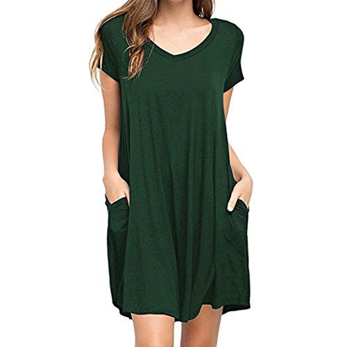 Mini Dresses, FORUU Women Summer Casual Solid Plain Simple Pocket T Shirt Loose Green
