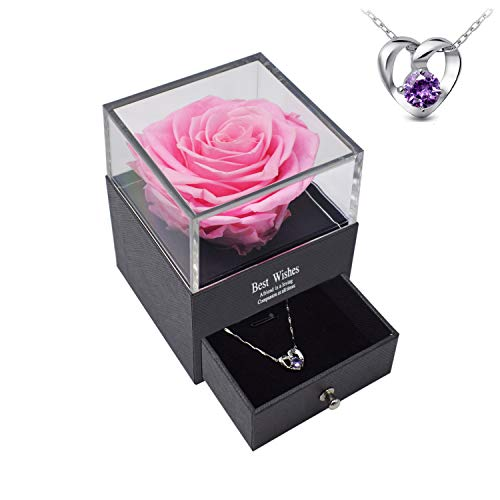 Preserved Real Rose with Necklace Eternal Rose Flower in Jewelry Box Forever Rose Never Withered Flower Romantic Gift for Valentine's Day, Mother's Day, Birthday, Christmas, Anniversary