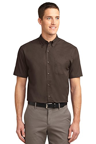 Port Authority Short Sleeve Easy Care Shirt, Coffee Bean/Light Stone, X-Small