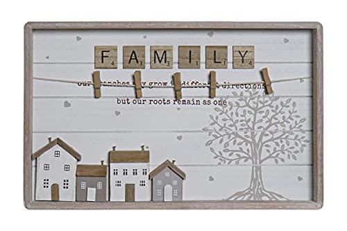 MoiR Marco de Fotos de Madera Casas Natural Blanco con Colgador de Cuerda y Pinzas Multiuso Pared Decorativo para Hogar Recibidor Dormitorio Cuarto de Estar - Medidas: 40x25x3cm.