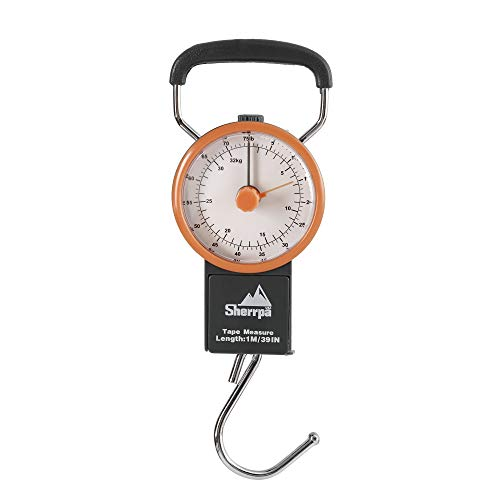 Sherrpa Travel Luggage Manual Scale, Suitcase Weighting Scale 75 lb / 32 kg (Charcoal/Orange)
