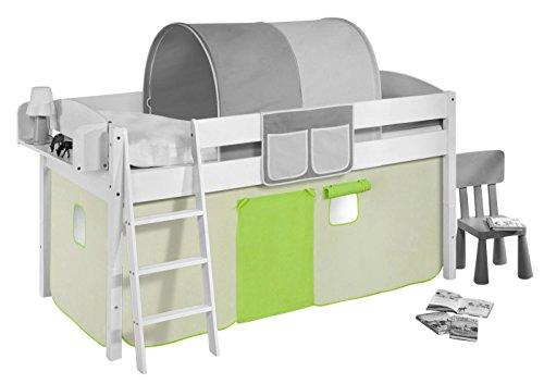 Vorhang Grün Beige - für Hochbett, Spielbett und Etagenbett