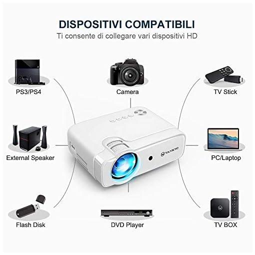 VANKYO Proyector 5000 lúmenes con Pantalla de 236 Pulgadas, soporta 1080P, HiFi Speaker, con Bolsa portátil, para TV… 5