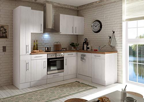 respekta Winkelküche Küchenzeile Küche L-Form Küche Landhausküche Weiß 250x172 cm