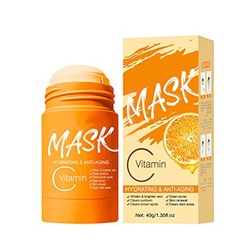 VC/Bamboo Charcoal Purifying Clay Stick Mask, Clear Skin Solid Mask Stick Purifying Clay Stick Mask Face Moisturizer Oil Control Deep Clean Pore Improves Skin for Women Men (VC)