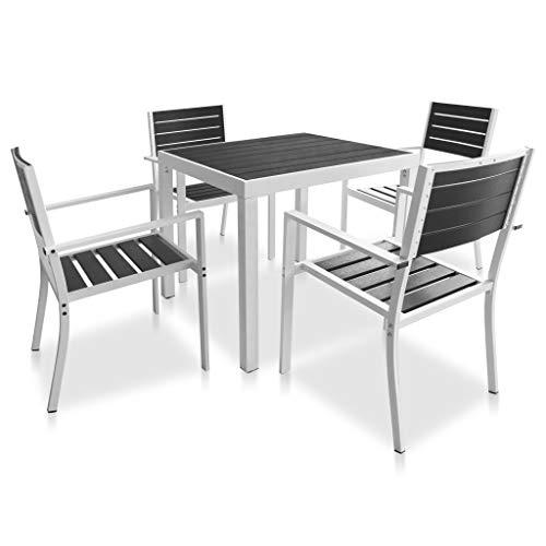 FAMIROSA Set Comedor jardín 5 pzas Aluminio y Superficie Mesa WPC Negro